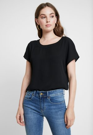 PLEAT BACK CREW BLOUSE - Blouse - black