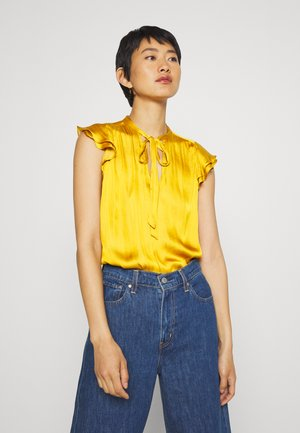 FLUTTER SLEEVE TIE NECK SOLIDS - Blusa - golden yellow