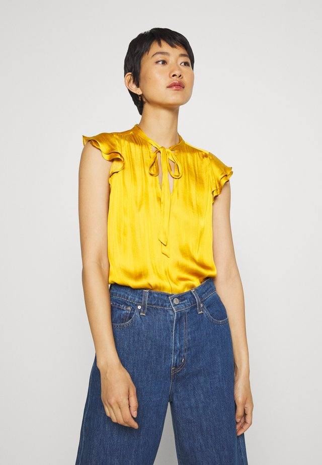 FLUTTER SLEEVE TIE NECK SOLIDS - Blouse - golden yellow