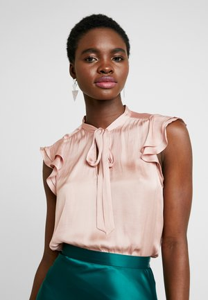 FLUTTER SLEEVE TIE NECK SOLIDS - Blouse - blush
