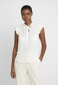 Banana Republic - FLUTTER SLEEVE TIE NECK SOLIDS - Blouse - snow day - 0