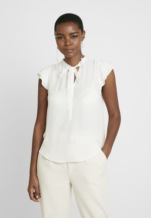 FLUTTER SLEEVE TIE NECK SOLIDS - Blouse - snow day
