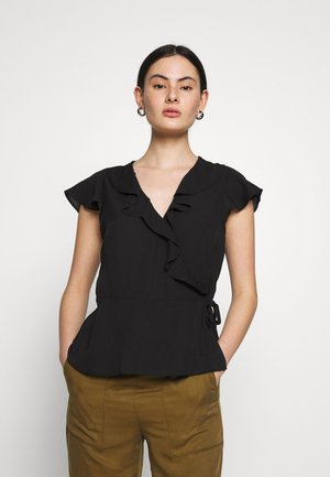 EXCLUSIVE RUFFLE WRAP SOLIDS - Camicetta - black