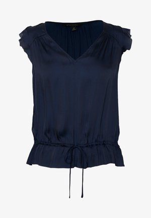 CINCHED WAIST RUFFLE  - Camicetta - navy