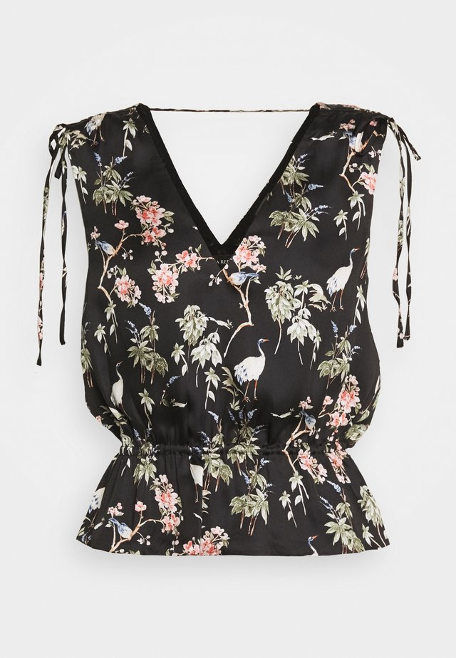 RUCHED SHOULDER FLOUNCE - Camicetta - black