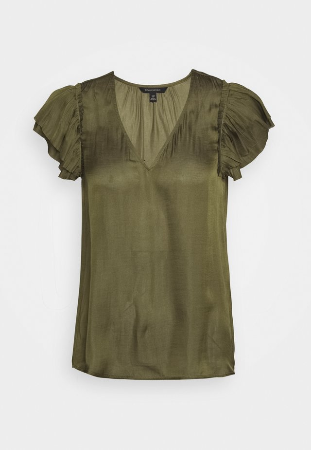 SOFT RUFFLE - Blouse - jungle olive