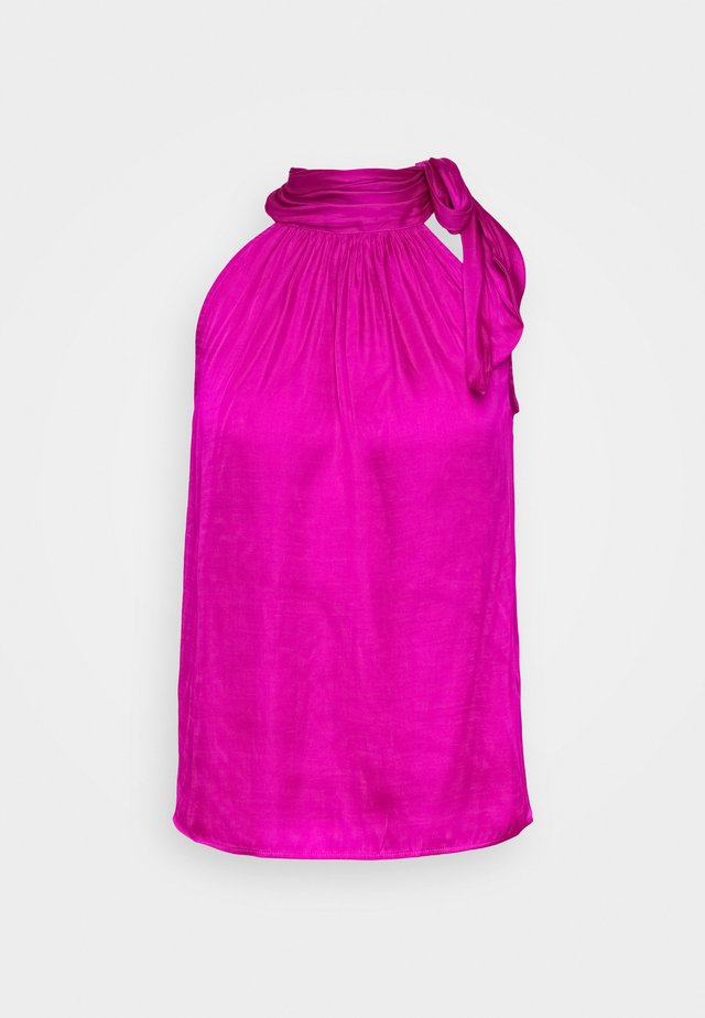 TIE NECK HALTER - Bluzka - hot bright pink
