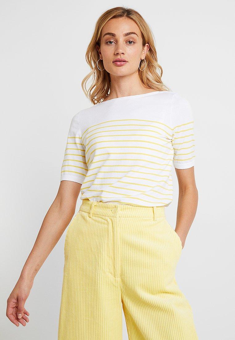 Banana Republic - STRETCH TEE BRETON STRIPE - T-Shirt print - white with yellow