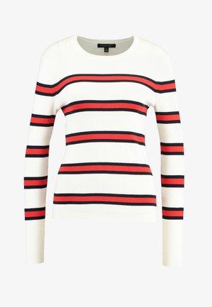 STRETCH CREW DOUBLEBAR STRIPE - Maglione - white/red