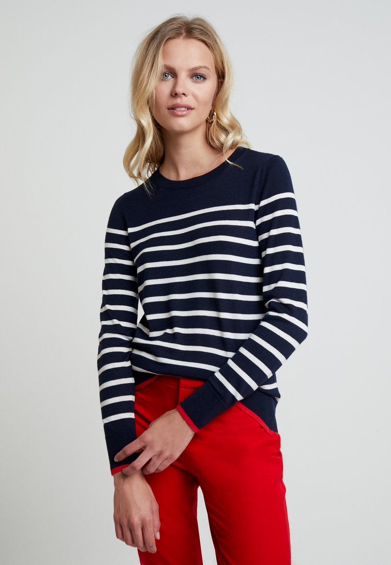 Banana Republic - CREW TIPPED STRIPE - Strickpullover - navy with white