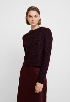 POINTELLE FLUFFY CREW - Sweter - burgundy