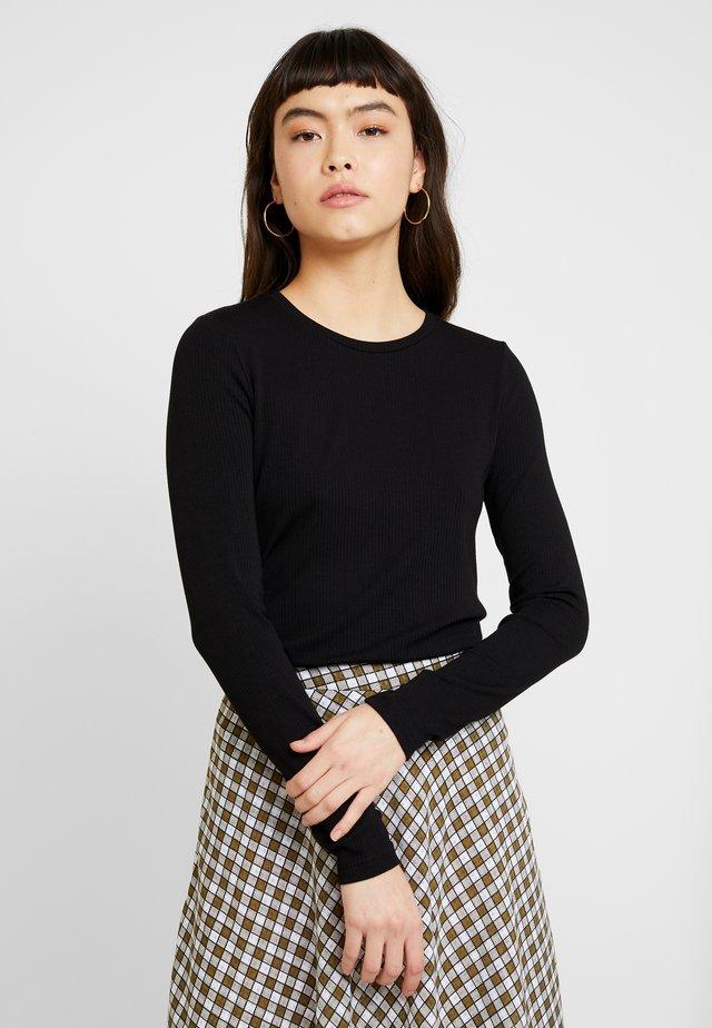 CREW NECK SOLIDS - Bluzka z długim rękawem - black