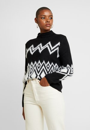 FAIR ISLE EYELASH MOCK NECK - Maglione - black/white