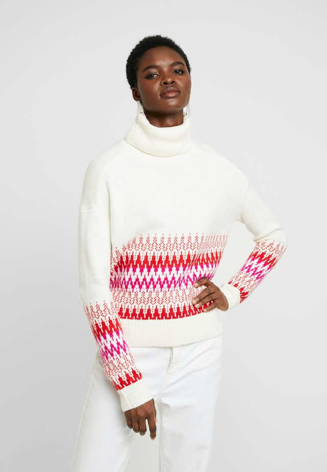 FAIR ISLE FUNNEL NECK - Neule - white/red