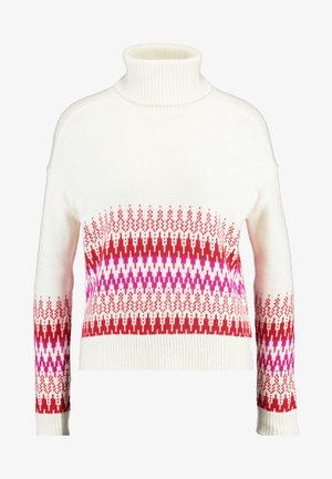 FAIR ISLE FUNNEL NECK - Jumper - white/red