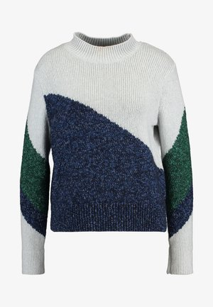 ASYM PLACED COLORBLOCK - Jumper - preppy navy/pinegreen