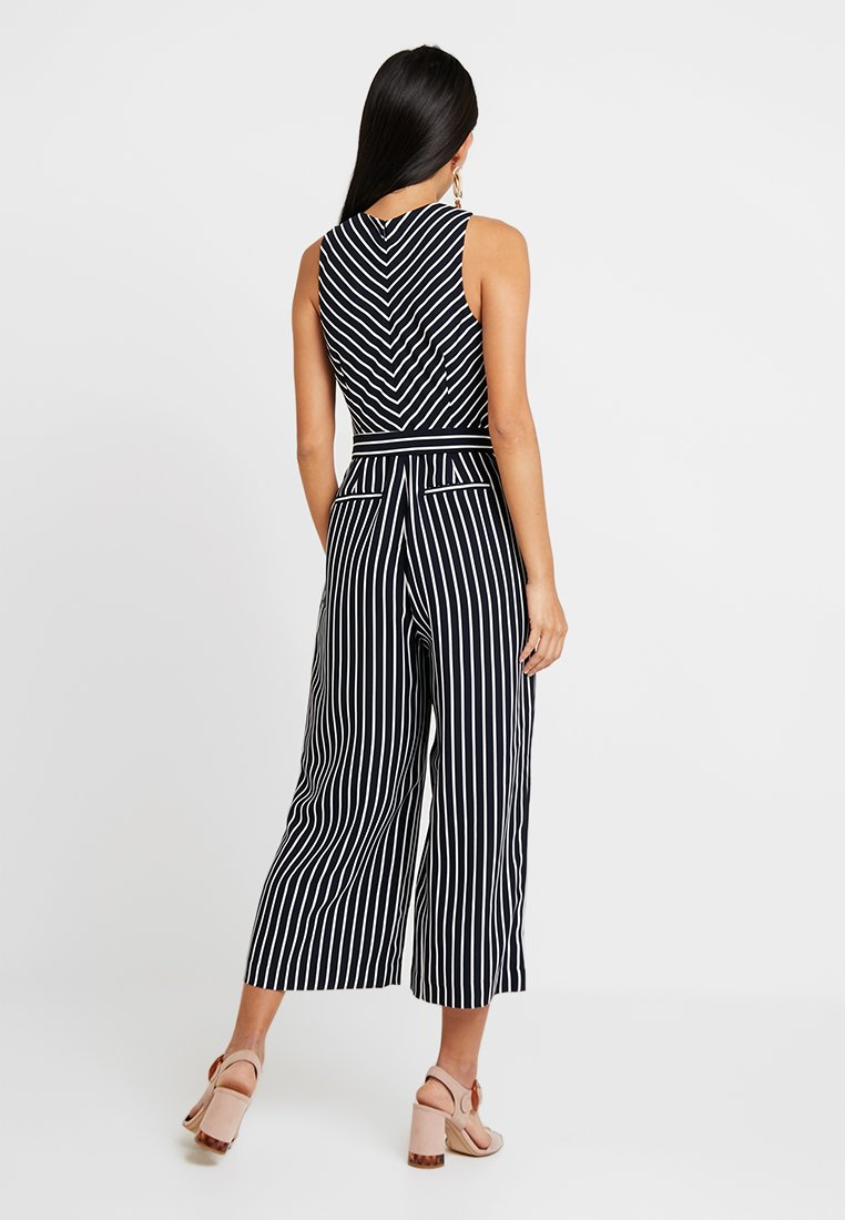 Banana Republic CROPPED V NECK STRIPE - Tuta jumpsuit navy/white