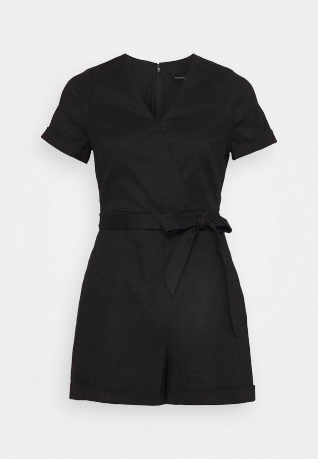 VNECK WRAP ROMPER SOLID - Tuta jumpsuit - black