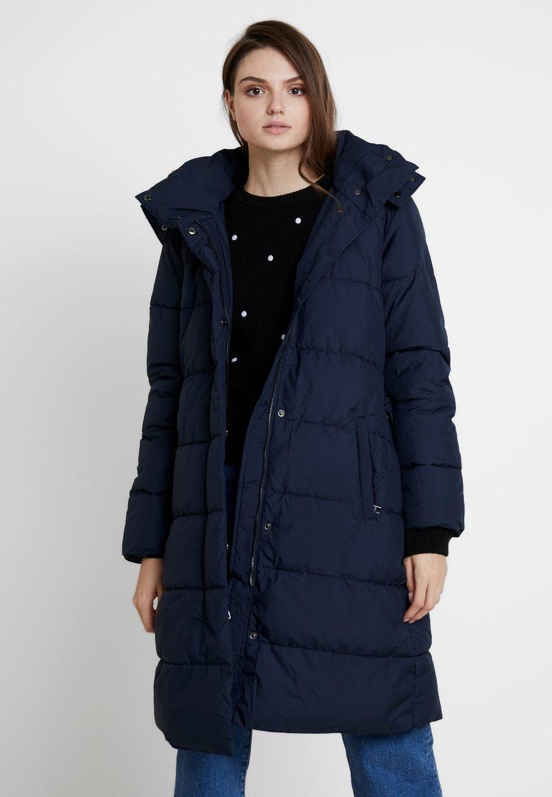 Banana Republic - LONG PUFFER FUR TRIM HOOD - Winter coat - preppy navy