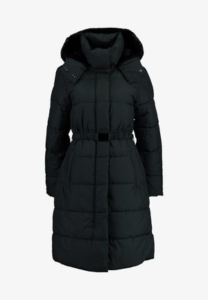 LONG PUFFER FUR TRIM HOOD - Winter coat - dark truffle