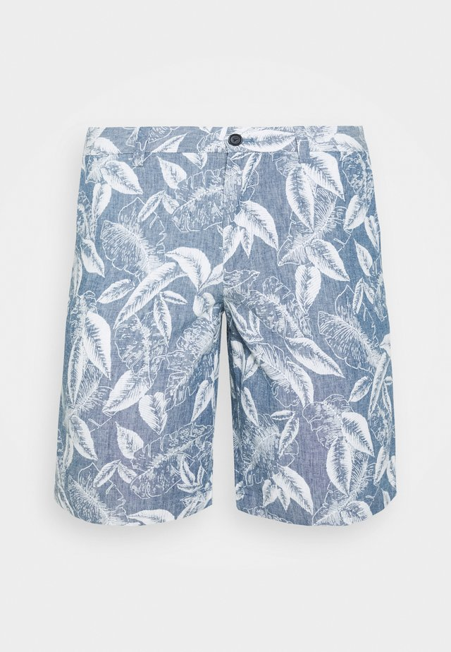 AIDEN CHAMBRAY ALLOVER LEAF PRINT - Szorty - chambray blue