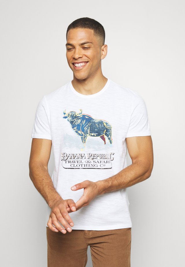 BULL NEON GRAPHIC TEE - T-shirt z nadrukiem - optic white