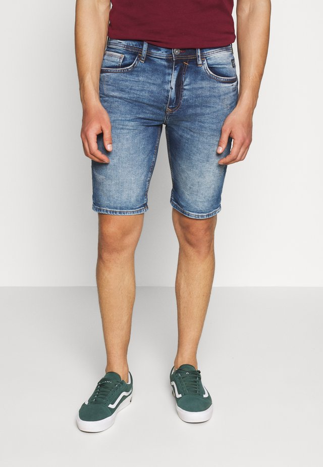 SCRATCHES - Shorts di jeans - denim middle blue