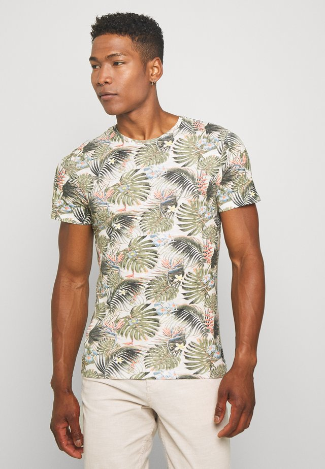 T-shirt med print - almond white
