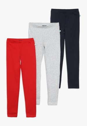 3 PACK - Leggings - rot/nebel/dunkel blau