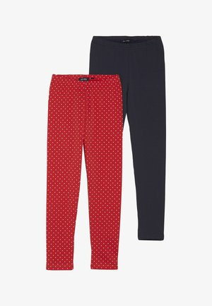 2 PACK - Leggings - Hosen - dunkelblau/rot