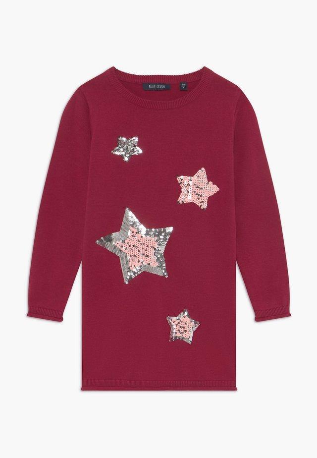 KIDS SEQUIN STARS - Pletené šaty - bordeaux