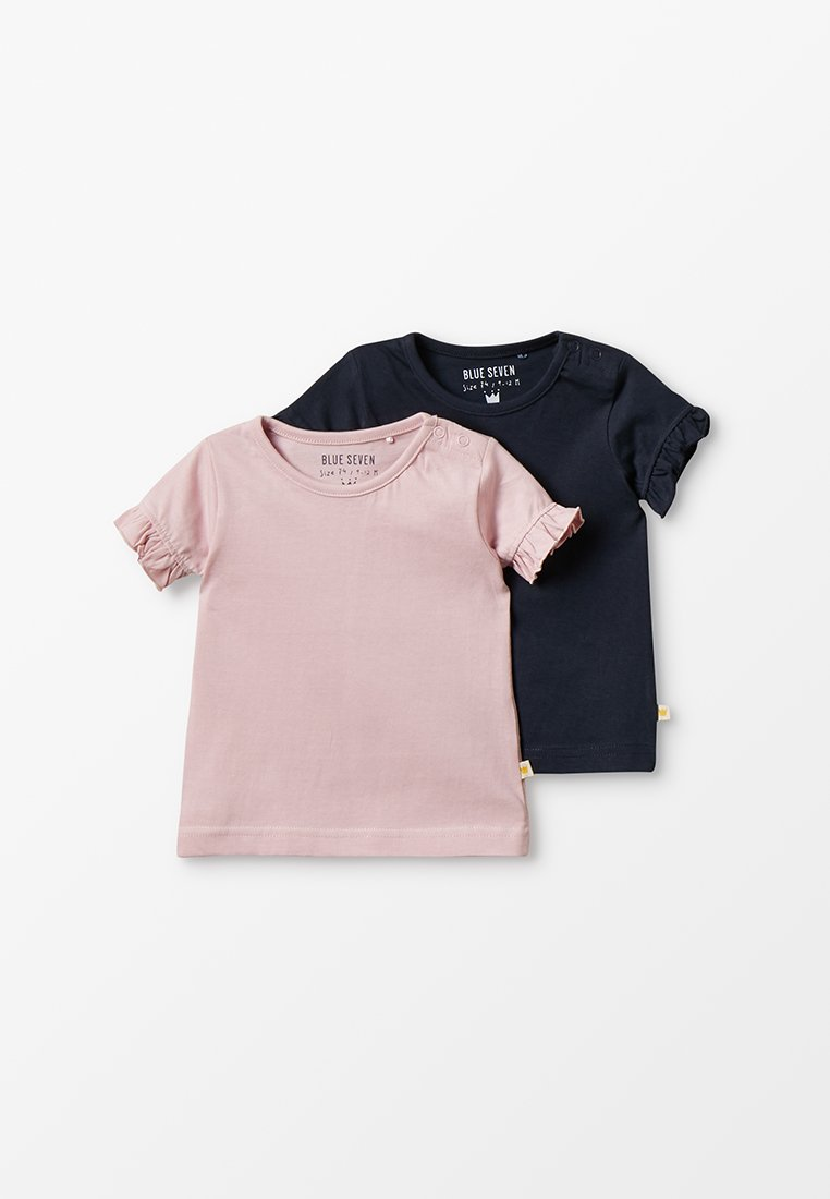 Blue Seven - MINI BABY 2 PACK - Basic T-shirt - rosa/dunkelbau