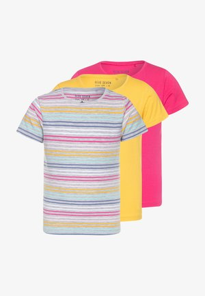 3 PACK - T-shirt imprimé - grau/pink/gelb