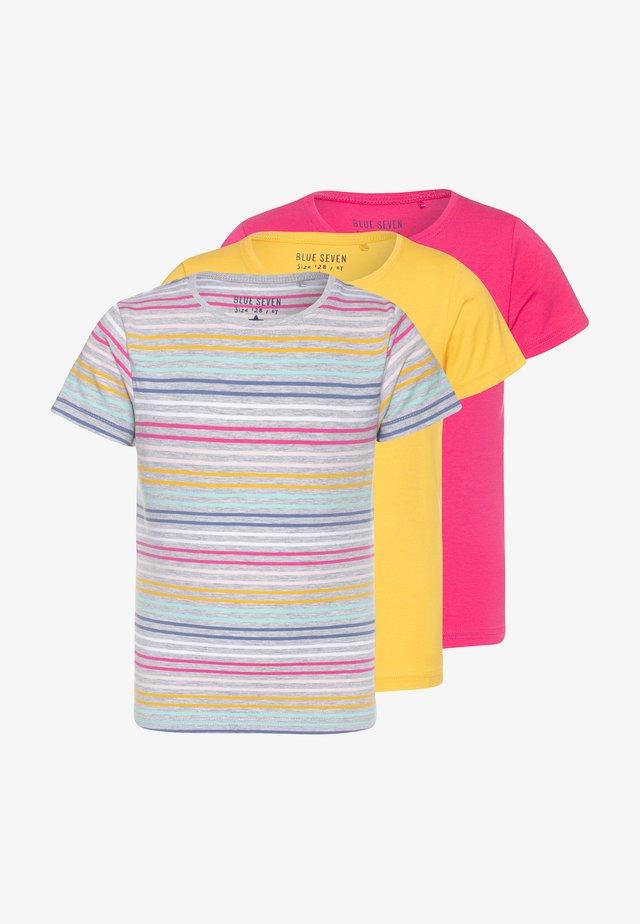 3 PACK - Triko spotiskem - grau/pink/gelb