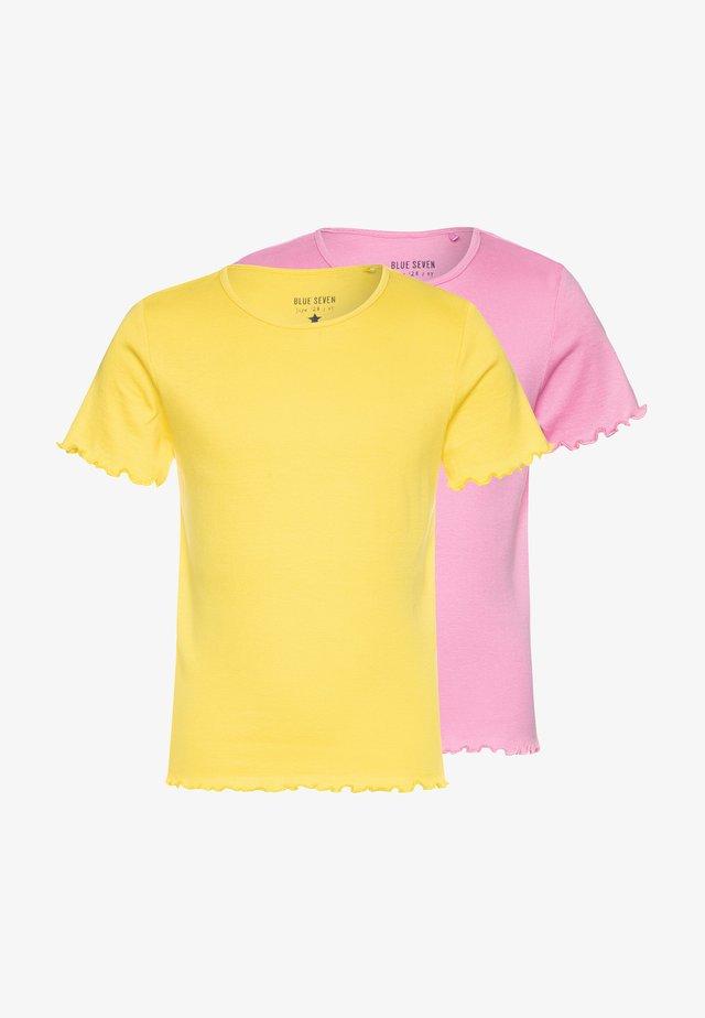2 PACK - Basic T-shirt - azalee/gelb