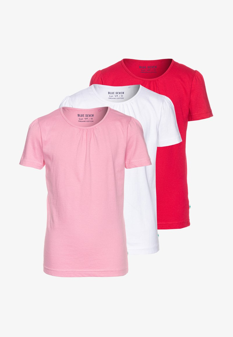Blue Seven - 3 PACK - T-shirt basique - weiß/hochrot/azalee