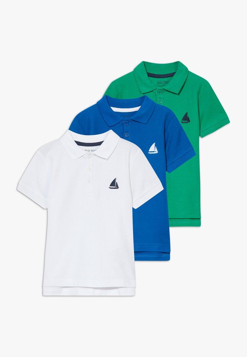 Blue Seven - 3 PACK - Polo shirt - weiss/ocean/grun