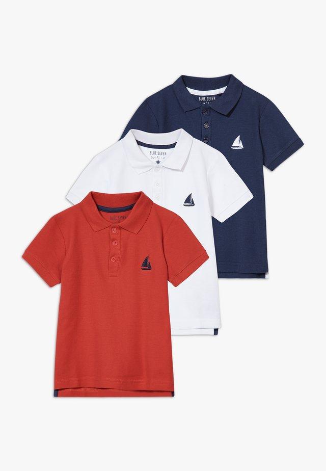 3 PACK - Piké - weiß/dunkelblau/rot