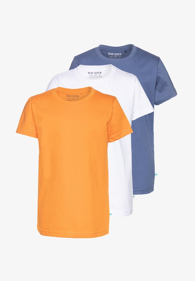 3 PACK - T-shirt basique - weiß/jeansblau/orange