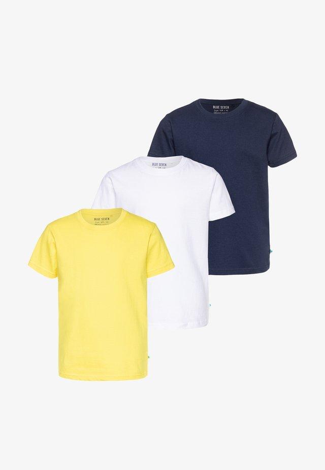 3 PACK - Jednoduché triko - weiß/dunkelblau/gelb