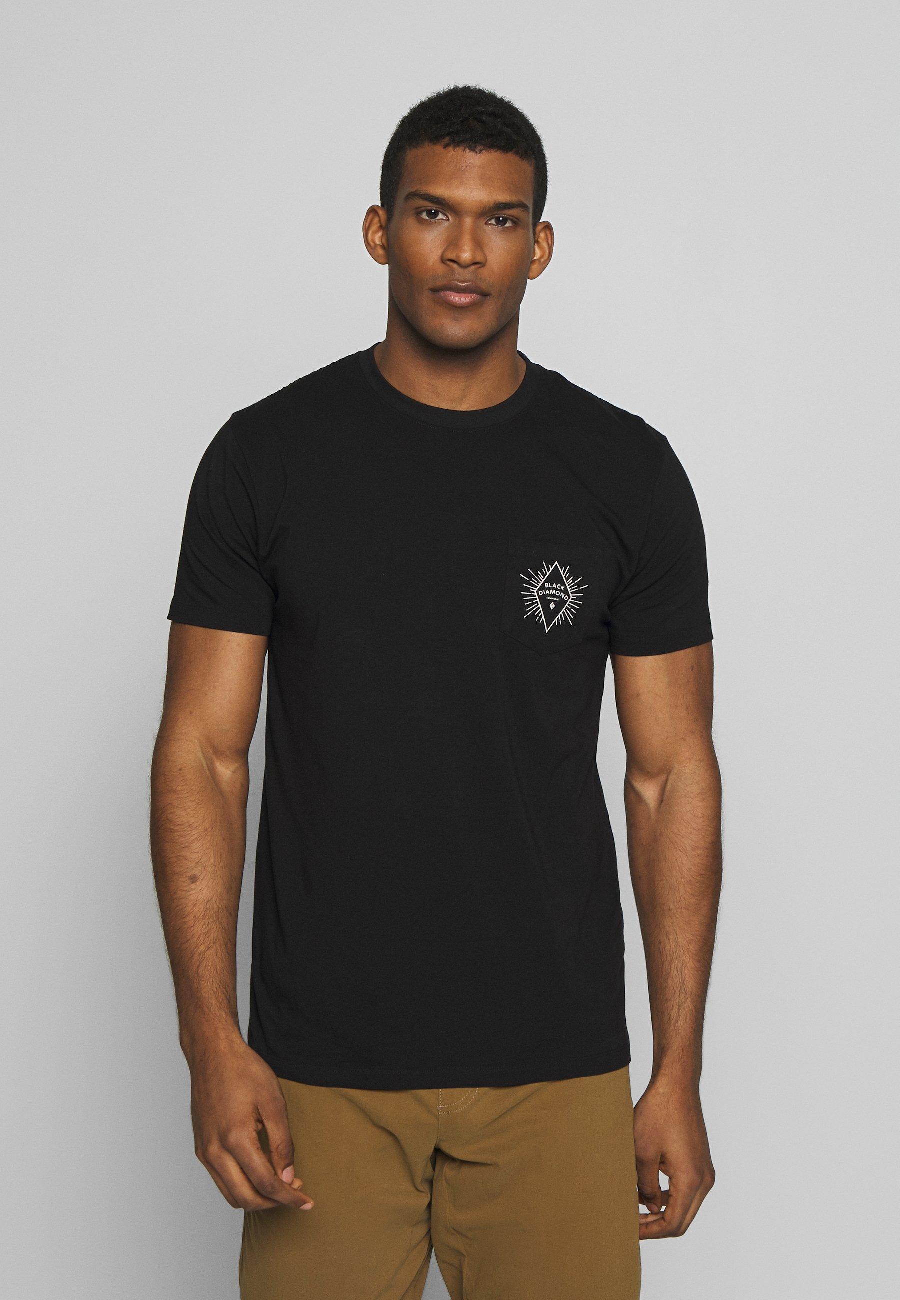 Black Diamond RAYS POCKET TEE - T-shirt z nadrukiem - black