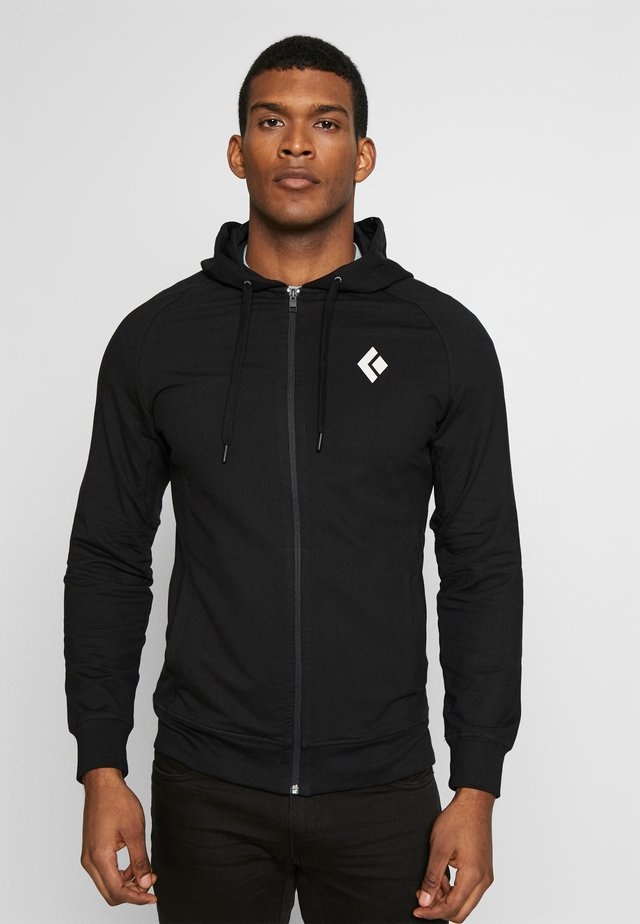 FULLZIP HOODY STACKED - Sweatshirt - black