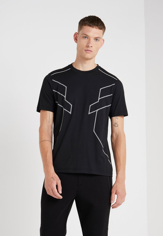 ROBOT LINES - T-shirt con stampa - black/silver