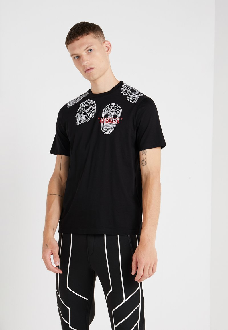 Neil Barrett BLACKBARRETT - 3D MESH SKULLS - T-shirt imprimé - black/white/red