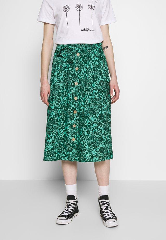 MENNE - Jupe trapèze - dark green/turquoise