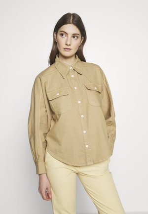 ALINA EXCLUSIVE - Skjortebluser - light sand/tonal stitching