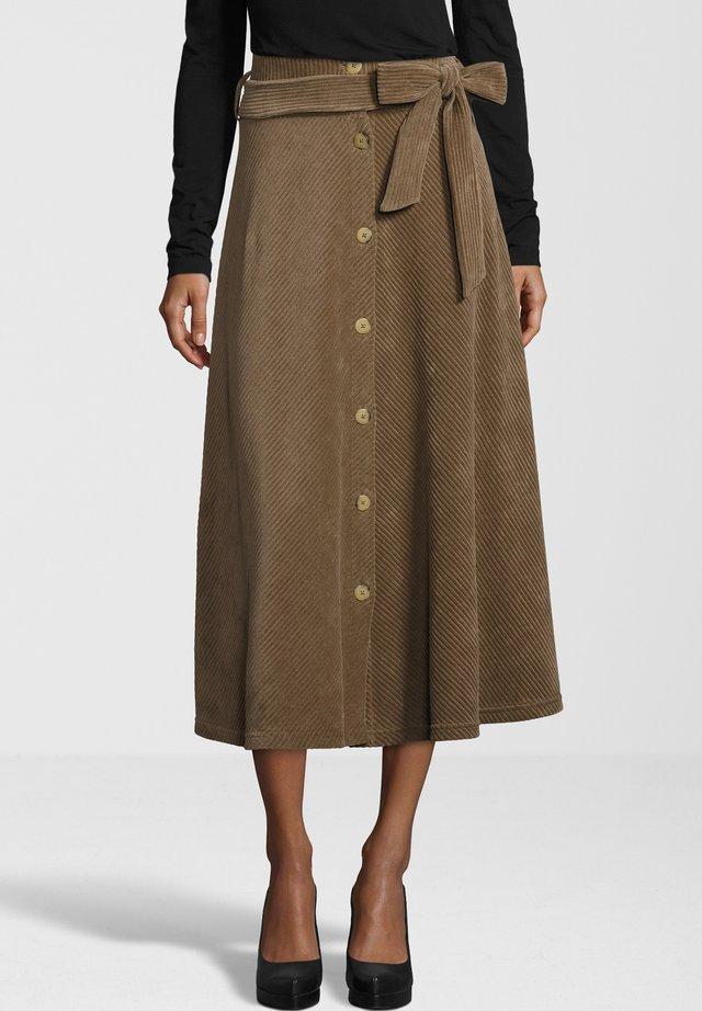 MALEA CORD JERSEY - Maxi skirt - dark taupe