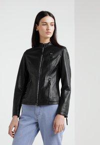 Blauer - CAPO SPALLA - Kožená bunda - black - 0