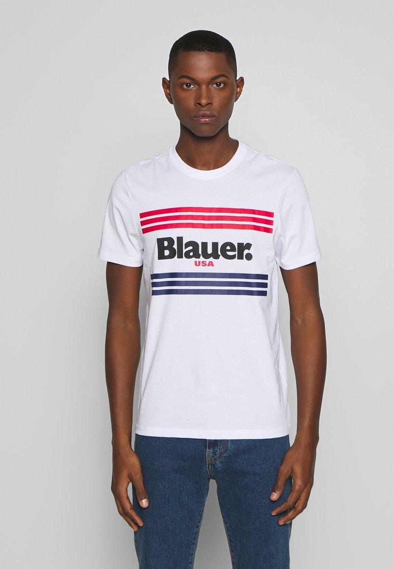Blauer - MANICA CORTA - T-shirt med print - bianco