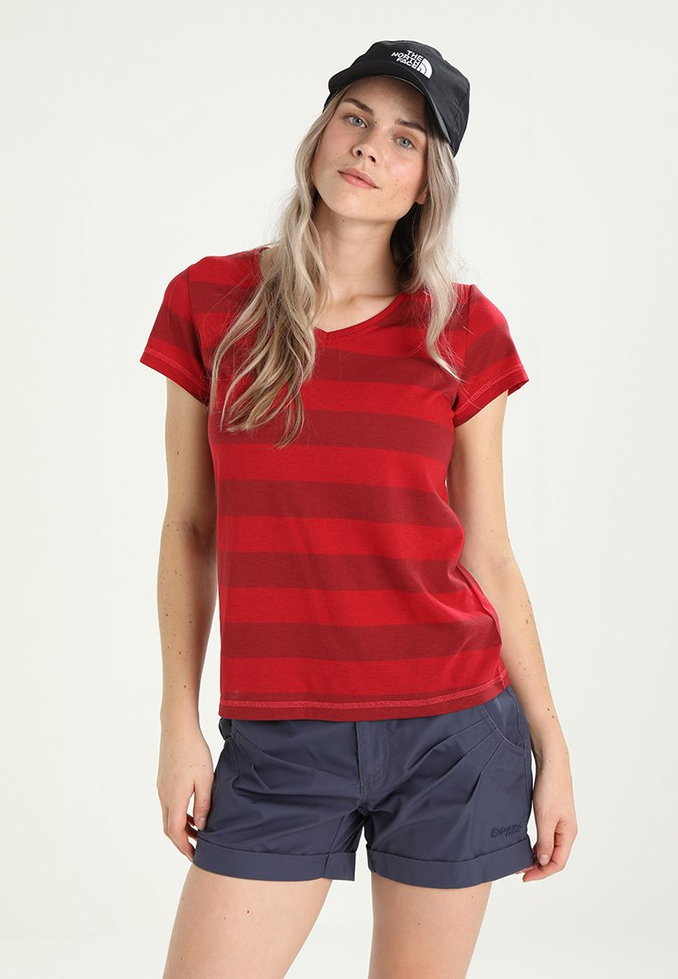 Bergans - BASTY LADY TEE - Print T-shirt - red/burgundy striped/strawberry